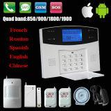 Alarme GSM sans fil LCD avec contrôle d'application et espagnol / Russie / voix française