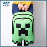 Minecraft Mochilas vert multifonction sac à dos Sac d'école toile Zip
