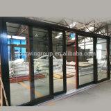 Le glissement facile personnalisé Strong Sash double de relevage de la surface du grain de bois d'aluminium porte de vol à voile à double vitrage porte de vol à voile de verre