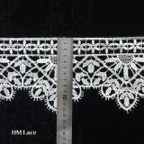 Tela bordada floral do laço da rede do poliéster do laço da cortina para vestidos do vestido de casamento
