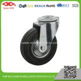 Schwarze Gummischwenker-Platten-Fußrolle (P102-11D080X25)