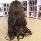 波のインドのバージンの人間の毛髪の完全なレースのWig&Laceの前部かつらを緩めなさい