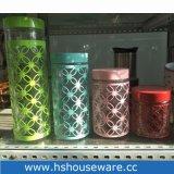 Insieme differente del coperchio del metallo di colore di formato dell'insieme di vetro del vaso