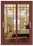 贅沢なバルコニーの木カラーのアルミニウムスライドガラスドア