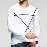 Camiseta del cuello de O de los hombres de la fabricación del OEM con la escritura de la etiqueta de encargo