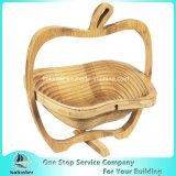 Appleの形のタケバスケットの果物かごの野菜のバスケット
