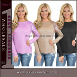 女性長い袖の偶然のTシャツは越えるブラウスのプルオーバー(TMG7236)を
