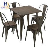 Дешевые порошковое покрытие металла Tolix ресторан Стулья деревянные сиденья