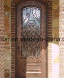 Luxury Bela Leão Porta única de ferro com porta de vidro temperado