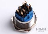 세륨 UL는 25mm 파랑 LED Illuninated 금속 누름단추식 전쟁 스위치를 방수 처리한다