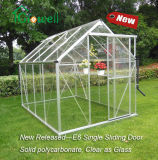 Wall-in Greenhouse Clear Panel Porta deslizante