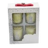 مجموعة من 4 رائحة شمعة زجاجيّة مع [جفت بوإكس] لأنّ زخرفة بيتيّة