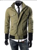 2015 Mens Green Twill Fashion Cotton Jacket para Spring