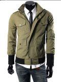 2015 Mens Green Twill Fashion Cotton Jacket для Spring