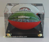 Neuer Entwurfs-Acrylfußball-Schaukarton mit schwarzer Unterseite