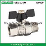 Le laiton nickelé a modifié le robinet à tournant sphérique femelle de guindineau (AV10066)