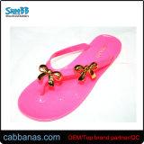 Розовый простые металлические стиле моды на пляже душ желе Тхонг Шлепанцы тапочки для женщин