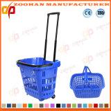 Hohe Kapazitäts-Plastiksupermarkt-Einkaufskorb mit Rädern (Zhb180)