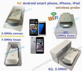explorador del ultrasonido del iPhone con la punta de prueba sin hilos del ultrasonido de la conexión de WiFi