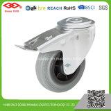 160mm graues Gummibolzenloch mit Bremsen-industrieller Fußrolle (G102-32D160X40S)