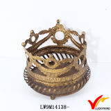 Antique Gold Metal Crown Candle Holder