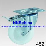 Weiße Nylonschwenker-Platten-Spitzenhochleistungsfußrolle