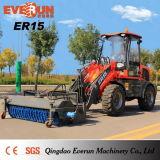 Затяжелитель колеса Qingdao Everun 1.5 тонн новым артикулированный состоянием миниый с метельщиком