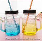 Vaso promozionale di /Mason della tazza della tazza/maniglia della bevanda del regalo di natale del campione libero con la decalcomania ed il coperchio
