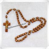 Rosario di legno di Knoted, rosario religioso di Knoted dei branelli (IO-cr340)