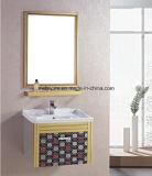 Малый шкаф ванной комнаты нержавеющей стали типа с зеркалом и тазиком