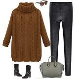 Новый стиль ослабление по шее Pullover шерстяной свитер дизайн для девочек