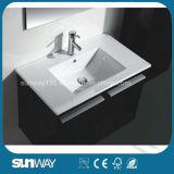 La nuova vanità fissata al muro della stanza da bagno del doppio dispersore ha impostato con lo specchio