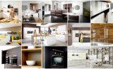 Modèle en verre de Module de cuisine d'enveloppe de vinyle de meubles de maison modulaire de porte de bâti en aluminium