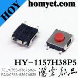 Commutateur momentané de vente chaud de tact de 4pin 6*6mm SMT avec le bouton rond rouge (HY-1157-4)