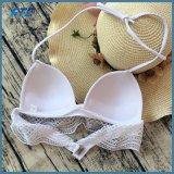 Kundenspezifischer Kennsatz-Badeanzug-reizvolle weiße Spitze-Bikinihalter-Badebekleidung