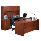 Деревянным стол стола офиса изогнутый комплектом с бортовым Bookcase таблицы (SZ-ODT614)