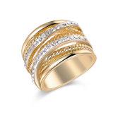 Anillo de oro del Rhinestone de la joyería de la manera de la aleación del cinc para las mujeres