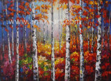 Home Decor를 위한 Canvas에 다중 Colors Birch Tree Oil Paintings