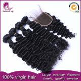 Onda profunda trama de cabelo Virgem chinês com rendas Encerramento
