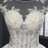 Robe nuptiale de chemise de lacet de bille courte d'organza