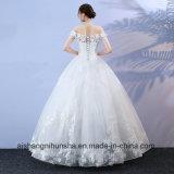 Блестящее длиннее платье венчания сексуальный Tulle Appliques Lace-up мантия венчания