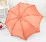 Seção do guarda-chuva 3 do frasco do presente da promoção que dobra o mini guarda-chuva manual da borda do laço
