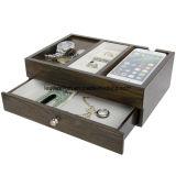 Коробка ювелирных изделий хранения устроителя зарядной станции слуги отделки Arolly деревянная
