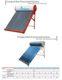 Calentador de agua solar no presurizado del tubo de vacío