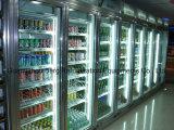 Camminata di vetro del portello del supermercato commerciale in congelatore della visualizzazione