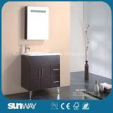 Fußboden-Standplatz MDF-Badezimmer-Eitelkeit mit Spiegel-Schrank Sw-6002