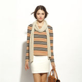 Ladies Striped 100% Cashmere sweater Sweater, Round Neck Wholesale American Style