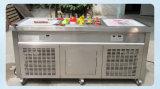 Praça duplo Frigideiras Fry sorvete máquina de sorvete máquina de rolo