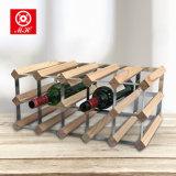 Het Rek van de Wijn van het Hout van de Pijnboom van de assemblage met de Gegalvaniseerde Fles van Greep 8-40 van het Staal