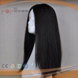 Peluca negra de la tapa de la piel del pelo de la Virgen (PPG-l-0889)
